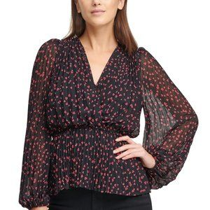 New! Heart Printed Pleated V-Neck Wrap Blouse